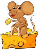 A mouse sitting above a cheese — Stock Vector