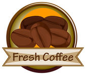 A fresh coffee label with coffee — Stock Vector