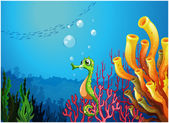 A seahorse near the coral reefs — Stock Vector