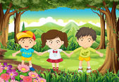 Three kids at the forest — Stock Vector