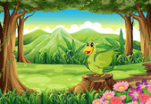A green bird above the stump at the forest — Stock Vector