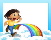 An empty template with a young girl running and a rainbow — Stock Vector