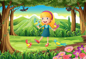 A young girl at the forest with birds — Stock Vector