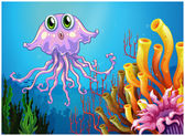 A cute jellyfish near the coral reefs — Stock Vector