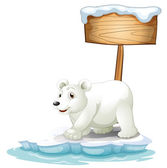 A white polar bear below the wooden signboard — Stock Vector