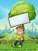 A smiling young man carrying an empty signboard — Stock Vector