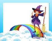 An empty template with a fairy and a rainbow — Stock Vector