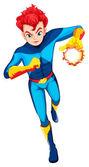 A superhero with a flaming power — Stock Vector