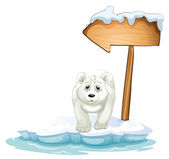 A polar bear below the wooden arrowboard — Stock Vector