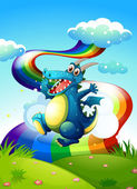 A dragon at the hilltop and a rainbow in the sky — Stock Vector