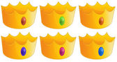 Six golden crowns — Stock Vector
