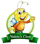A nature's own label with a smiling bee — Stock Vector