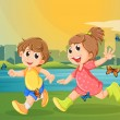 Stock Vector: Two adorable kids running with butterflies