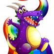 A playful violet dragon and a rainbow — Stock Vector