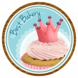 A best bakery label with a cake — Stock Vector