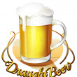 图库矢量图片: Draught beer label and pitcher of cold beer