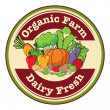 图库矢量图片: Round template with organic farm and dairy fresh label