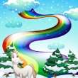 A horse in a snowy area and a rainbow in the sky — Vector de stock