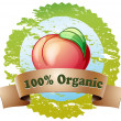A pure organic label with a red tomato — Stock Vector #40736335