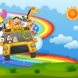 A zoo bus at the hilltop with a rainbow in the sky — Stock Vector #40736349