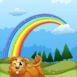 A bear at the hill with a rainbow in the sky — Stock Vector #40736405