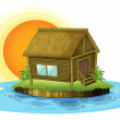 A bamboo house in the island — Stock Vector