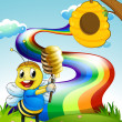 A bee at the hilltop with a rainbow in the sky — Stock Vector