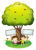 Kids under the tree with empty signboards — Stock Vector