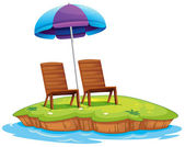 Two wooden chairs in the island — Stock Vector