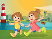 Two adorable kids running with butterflies — Stock Vector