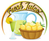 Fresh juice label with a basket of oranges — Stock Vector