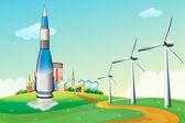 Rakiety na szczycie wzgórza wiatraków — Wektor stockowy