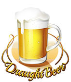 A draught beer label and a pitcher of cold beer — Stock Vector