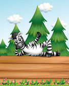 A zebra above the wooden signboard — Stock Vector