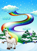 A horse in a snowy area and a rainbow in the sky — Stock Vector