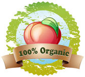 A pure organic label with a red tomato — Stock Vector