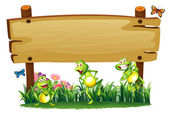An empty wooden board at the garden with playful frogs — Stock Vector