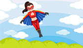 A female superhero in the sky — Vector de stock