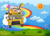 A zoo bus at the hilltop with a rainbow in the sky — Stock Vector