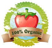 An organic label with a strawberry — Stock Vector