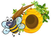 A smiling bee near the big beehive — Stock Vector