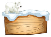 A polar bear above the empty wooden signboard — Stock Vector