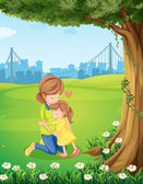 A mother hugging her daughter under the tree — Stock Vector