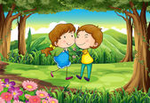 A couple dating at the forest — Stock Vector