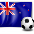 Stock Vector: Flag of New Zealand with soccer ball