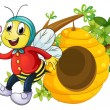 A bee holding a flower — Stock Vector