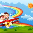 A plane with two boastful monkeys and a rainbow in the sky — Stock Vector