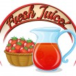 Stock Vector: Fresh juice label with basket of tomatoes and pitcher of j
