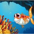 Smiling fish under seinside cave — Stock Vector #40935237