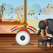 Young pianist inside music room — Stock Vector #40935255
